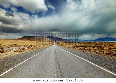 Patagonian landscape with road and Argentino Lake, Argentina
