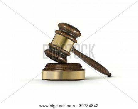Wooden brown gavel and soundboard