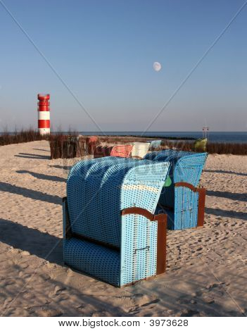 Beach Chair In Front Of The Lighthouse Of Helgoland