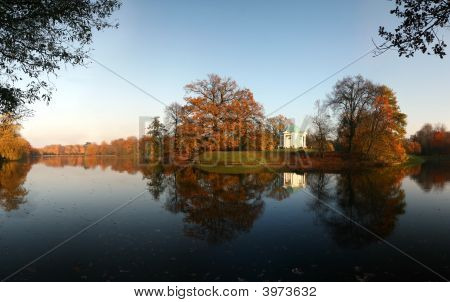 Beautiful Autumn Lake With Temple