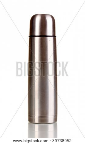 metal thermos isolated on white