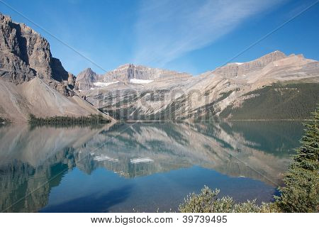 Bow Lake And Mountains