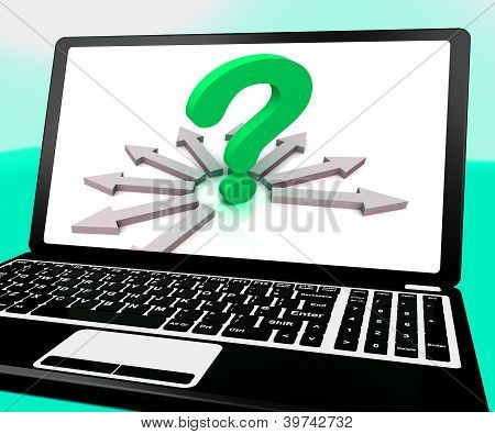 Question Mark On Laptop Shows Different Enquiries