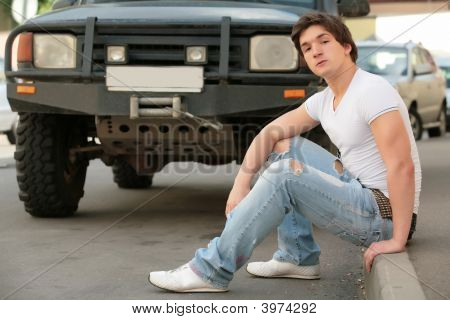Man And Black Jeep