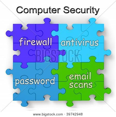 Computer Security Puzzle Shows Firewall And Antivirus