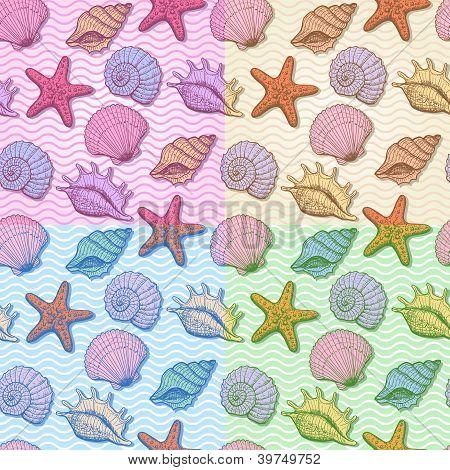 Set of sea hand drawn seamless pattern