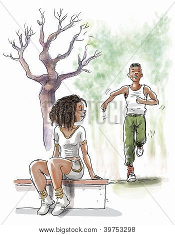 black couple are jogging