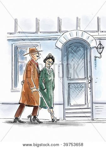 Elderly couple are walking
