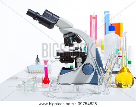 Chemical scientific laboratory stuff microscope test tube flask pipette