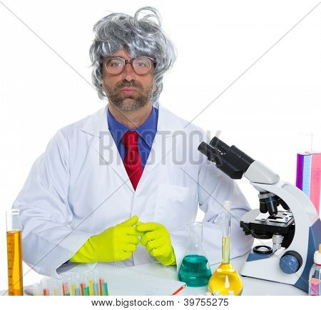 Nerd crazy scientist man portrait working at laboratory with gray hair