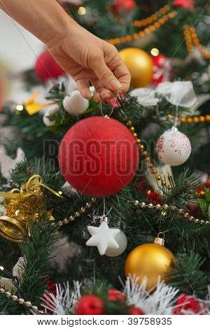 Closeup On Woman Hand Hanging Christmas Ball On Christmas Tree