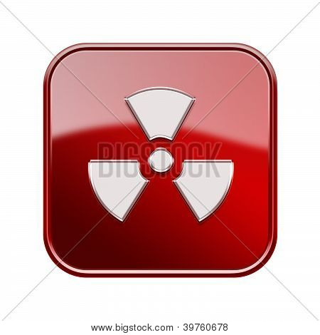 Radioactive Icon Glossy Red, Isolated On White Background.