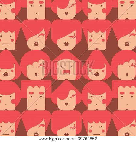Funny faces seamless pattern