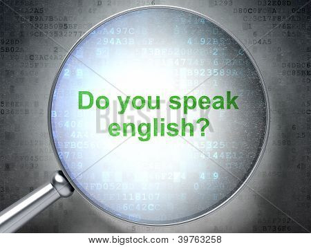 Magnifying Optical Glass With Words Do_you_speak English? On Digital Screen