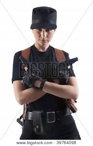 Officer Woman With Two Guns
