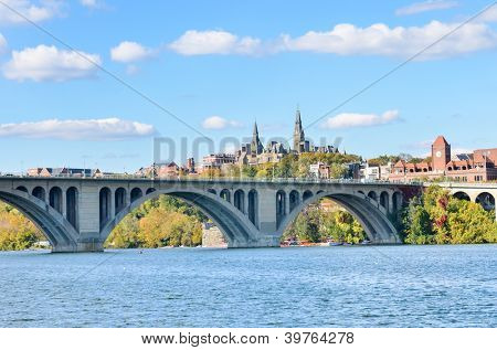 Washington DC, a view from Georgetown and Key bridge in autumn