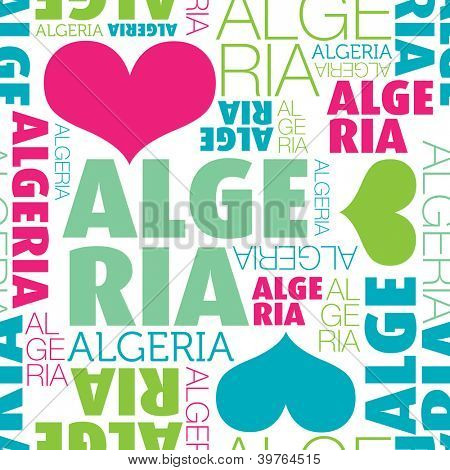 I love Algeria seamless typography background pattern in vector