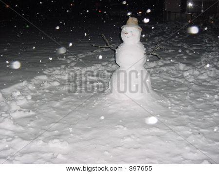 Snowman Night Snow