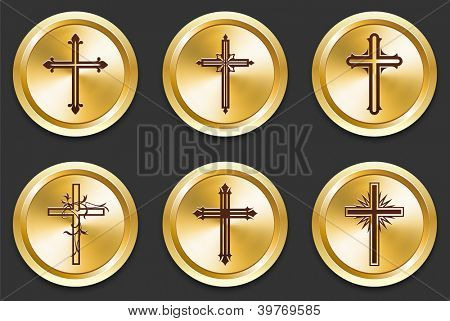 Cross Icons on Gold Button Collection Original Illustration