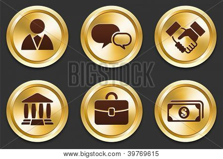 Economy Icons on Gold Button Collection Original Illustration