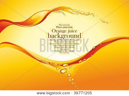 Orange juice background. Vector illustration.