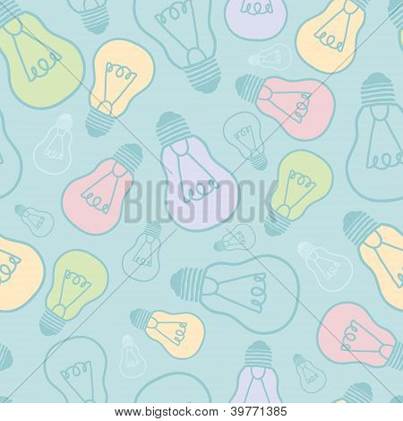 Colorful light bulbs seamless pattern background
