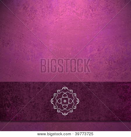 pink background burgundy ribbon and seal design