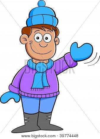 cartoon boy in winter clothes waving stock vector amp stock
