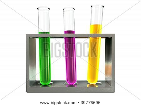 Three Test Tubes In A Metal Stand Front