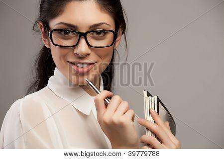 Brillen Brille Frau Closeup Portrait.