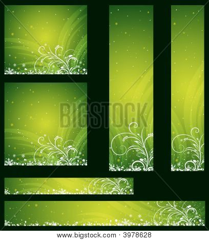 Green Christmas Banners