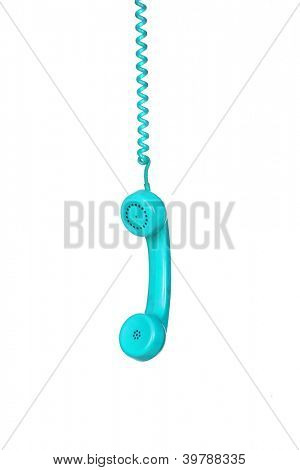 Turquoise telephone cable hanging isolated on white background