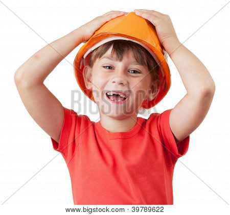 Little Girl In The Construction Of Protective Helmet