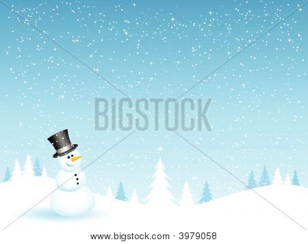 Snowman On A Snowy Night