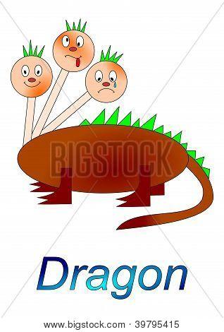 Personagem de conto de fadas - dragão de três cabeças