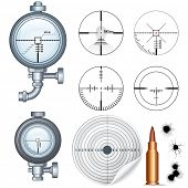 Cross hairs Set. Illustrations of Sniper Target Scopes, Optic Sight, Cross hairs, Target and Bullet