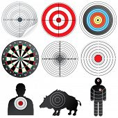 foto of boar  - Vector Targets Set - JPG