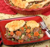 foto of biscuits gravy  - Beef pot pie meal with carrots - JPG