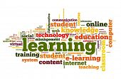Learning concept in word cloud on white