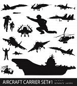 picture of awacs  - Aircraft carrier high detailed silhouettes set - JPG