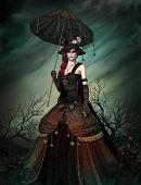 image of steampunk  - a strange lady in steampunk dress and umbrella - JPG