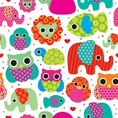 Seamless retro animals kids pattern wallpaper background in vector