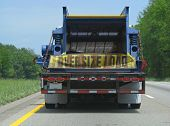 image of oversize load  - semi trailer truck oversize load on highway - JPG