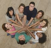 stock photo of huddle  - Teamwork - JPG