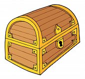 stock photo of hasp  - Wooden treasure chest with lock  - JPG