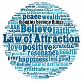 stock photo of gratitude  - Law of attraction in word collage - JPG