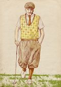 image of foursome  - A hand drawn illustration of golf player - JPG