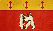 Grunge official county flag of Warwickshire in England. poster