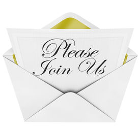 stock photo of cursive  - The words Please Join Us on a formal invitation to cordially and officially invite you to a party - JPG
