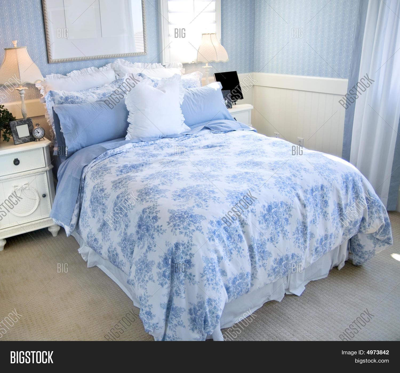 Beautiful Light Blue Bedroom Image & Photo